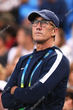 Darren Cahill, coach of Romania's Simona Halep, watches the first round match between Halep and Jennifer Brady of the USA at the Australian Open Grand Slam tennis tournament at Margaret Court Arena in Melbourne, Australia, 21 January 2020.