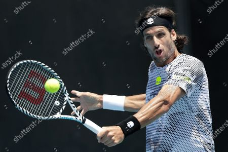 Feliciano Lopez of Spain in action during his men's singles first round match against Roberto Bautista Agut of Spain at the Australian Open Grand Slam tennis tournament in Melbourne, Australia, 21 January 2020.