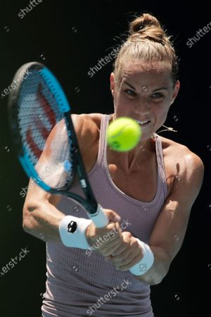 Arantxa Rus of Netherlands in action during her women's singles first round match against Magda Linette of Poland at the Australian Open Grand Slam tennis tournament in Melbourne, Australia, 21 January 2020.