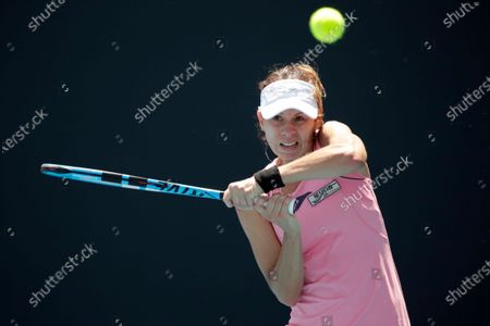 Magda Linette of Poland in action during her women's singles first round match against Arantxa Rus of Netherlands at the Australian Open Grand Slam tennis tournament in Melbourne, Australia, 21 January 2020.