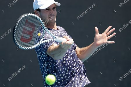 Tommy Paul of USA in action during his men's singles first round match against Leonardo Mayer of Argentina at the Australian Open Grand Slam tennis tournament in Melbourne, Australia, 21 January 2020.