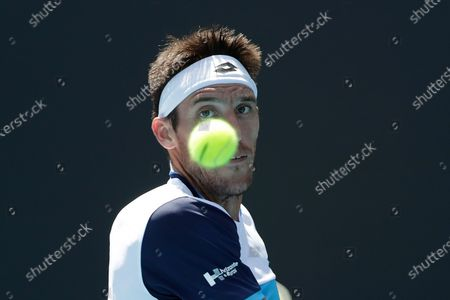 Leonardo Mayer of Argentina in action during his men's singles first round match against  Tommy Paul of USA at the Australian Open Grand Slam tennis tournament in Melbourne, Australia, 21 January 2020.