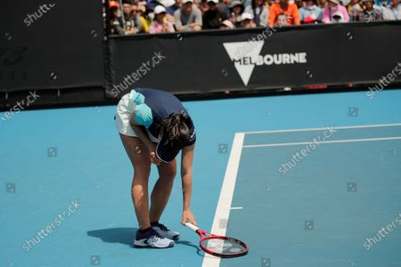 Stock Picture of Nao Hibino of Japan reacts during her women's singles first round match against Peng Shuai of China at the Australian Open Grand Slam tennis tournament in Melbourne, Australia, 21 January 2020.