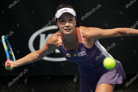 Peng Shuai of China in action during her women's singles first round match against Nao Hibino of Japan at the Australian Open Grand Slam tennis tournament in Melbourne, Australia, 21 January 2020.
