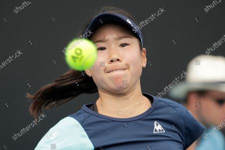 Stock Photo of Nao Hibino of Japan in action during her women's singles first round match against Peng Shuai of China at the Australian Open Grand Slam tennis tournament in Melbourne, Australia, 21 January 2020.