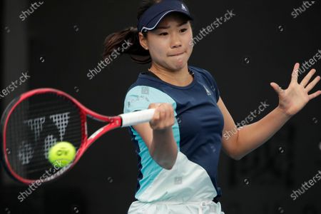 Nao Hibino of Japan in action during her women's singles first round match against Peng Shuai of China at the Australian Open Grand Slam tennis tournament in Melbourne, Australia, 21 January 2020.