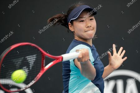 Stock Image of Nao Hibino of Japan in action during her women's singles first round match against Peng Shuai of China at the Australian Open Grand Slam tennis tournament in Melbourne, Australia, 21 January 2020.