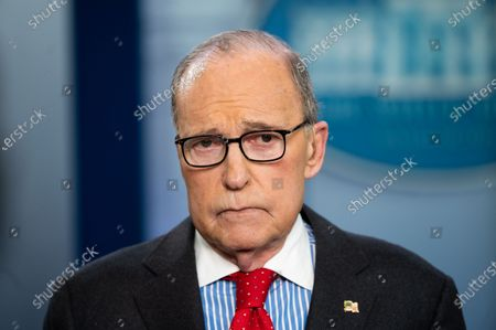 Stock Photo of Larry Kudlow, Director of the United States National Economic Council, giving an interview at the White House Press Briefing Room.