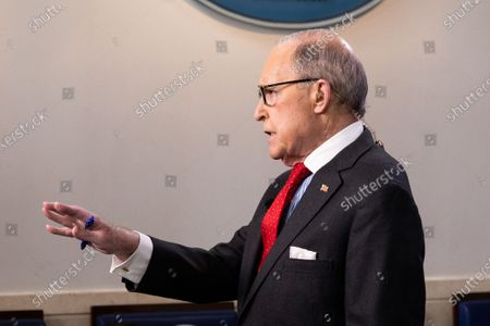 Larry Kudlow, Director of the United States National Economic Council, giving an interview at the White House Press Briefing Room.