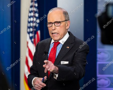 Stock Image of Larry Kudlow, Director of the United States National Economic Council, giving an interview at the White House Press Briefing Room.