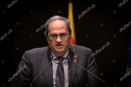 The president of the Generalitat of Catalonia Joaquim Torra speaks during the First Catalan Climate Action Summit.