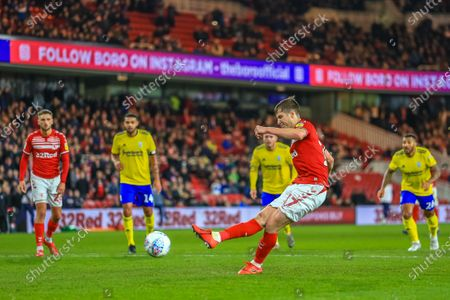 Stock Image of 21st January 2020, Riverside Stadium, Middlesbrough, England; Sky Bet Championship, Middlesbrough v Birmingham City : Paddy McNair (17) of Middlesbrough sees his penalty saved by Lee Camp (1) of Birmingham City