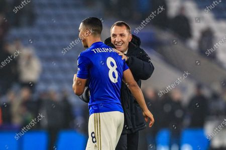 22nd January 2020, King Power Stadium, Leicester, England; Premier League, Leicester City v West Ham United : Brendan Rodgers manager of Leicester City gives Youri Tielemans (8) of Leicester City a pat on the back for an outstanding performance