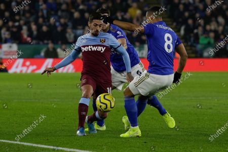 22nd January 2020, King Power Stadium, Leicester, England; Premier League, Leicester City v West Ham United : Manuel Lanzini (10) of West Ham United and Youri Tielemans (8) of Leicester City chase the loose ball