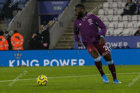 22nd January 2020, King Power Stadium, Leicester, England; Premier League, Leicester City v West Ham United : Arthur Masuaku (26) of West Ham United warms up