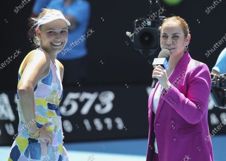 Stock Image of Donna Vekic, TV Interview with Jelena Dokic