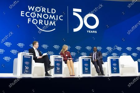 Borge Brende, President WEF, Queen Maxima of the Netherlands, and Mokgweetsi Eric Keabetswe Masisi, President of Botswana, from left, pictured during a plenary session during the 50th annual meeting of the World Economic Forum, WEF, in Davos, Switzerland, 21 January 2020. The meeting brings together entrepreneurs, scientists, corporate and political leaders in Davos from January 21 to 24.