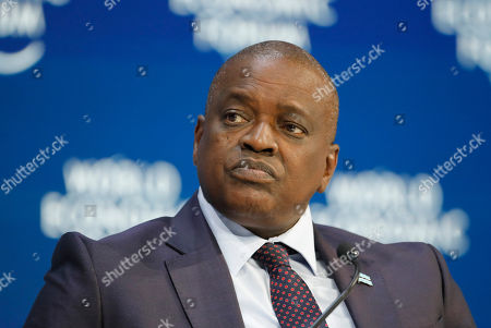 Botswana's President Mokgweetsi Eric Keabatswe Masisi tales part in a panel discussion at the World Economic Forum in Davos, Switzerland, . The 50th annual meeting of the forum will take place in Davos from Jan. 21 until Jan. 24, 2020