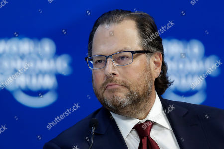 Stock Picture of Marc Benioff, chairman and co-CEO of Salesforce takes part in a panel discussion at the World Economic Forum in Davos, Switzerland, . The 50th annual meeting of the forum will take place in Davos from Jan. 21 until Jan. 24, 2020