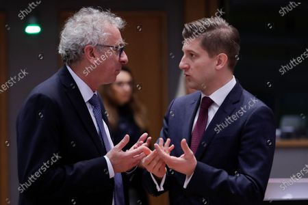 Luxembourg's Finance Minister Pierre Gramegna (L) and Croatian Finance Minister Zdravko Maric attend a Finance Ministers' Economic and Financial Affairs Council (ECOFIN) meeting in Brussels, Belgium, 21 January 2020.