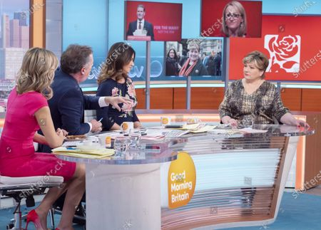 Charlotte Hawkins, Piers Morgan and Susanna Reid with Emily Thornberry