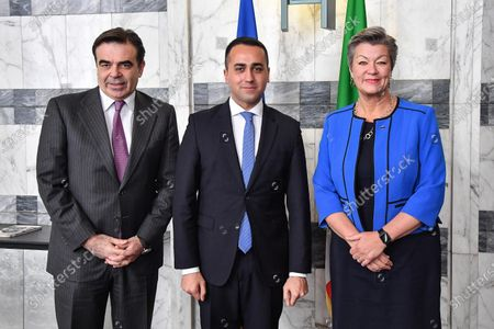 Stock Picture of Italian Foreign Affairs Minister Luigi Di Maio (C) meets with EU Commission Vice President Margaritis Schinas (L) and European Commissioner for Home Affairs Ylva Johansson (R), in Rome, Italy, 21 January 2020.