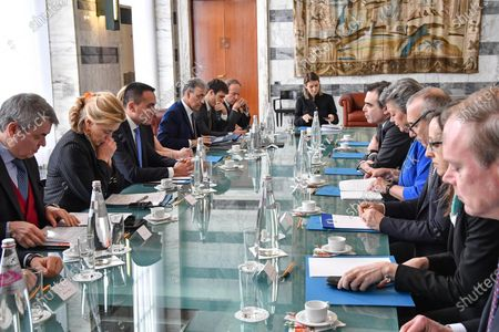 Italian Foreign Affairs Minister Luigi Di Maio (3-L) during a meeting with EU Commission Vice President Margaritis Schinas (5-R) and European Commissioner for Home Affairs Ylva Johansson (4-R), in Rome, Italy, 21 January 2020.