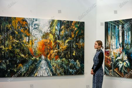 Stock Image of A woman views John Morris' artwork titled 'Nature' during the preview of London Art Fair at Business Design Centre in north London. The fair opens on 22 January and runs until 26 January, which showcases modern and contemporary artwork from galleries around the world.