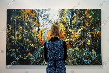 Stock Photo of A woman views John Morris' artwork titled 'Nature' during the preview of London Art Fair at Business Design Centre in north London. The fair opens on 22 January and runs until 26 January, which showcases modern and contemporary artwork from galleries around the world.