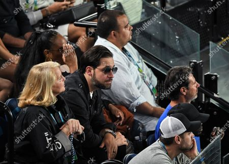 Alexis Ohanian watches on as Serena Williams plays her Women's Singles Second Round match