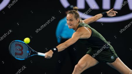 Arantxa Rus of the Netherlands in action during her second round match at the 2020 Australian Open Grand Slam tennis tournament