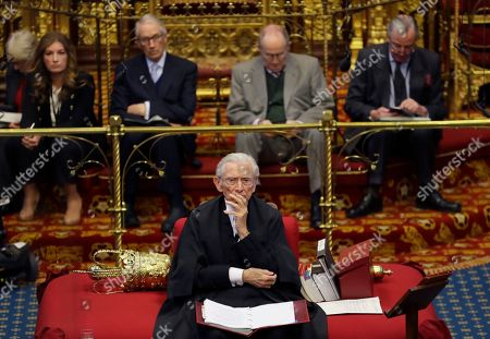 The Lord Speaker Lord Fowler listens inside the House of Lords as the European Withdrawal Agreement Bill is debated in London, . Britain's House of Lords is considering the European Withdrawal Agreement Bill, which is due to pass through its final stages before returning to the House of Commons