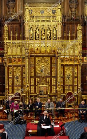 Stock Picture of The Lord Speaker Lord Fowler, front centre, listens inside the House of Lords as the European Withdrawal Agreement Bill is debated in London, . Britain's House of Lords is considering the European Withdrawal Agreement Bill, which is due to pass through its final stages before returning to the House of Commons