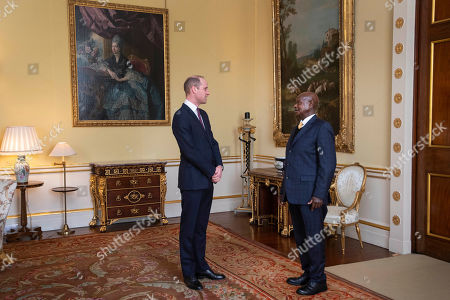 Prince William receives the President of Uganda Yoweri Museveni during an audience at Buckingham Palace, London.