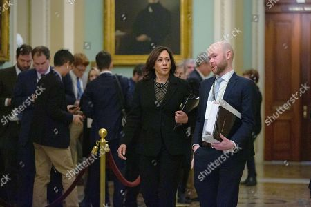 United States Senator Kamala Harris (Democrat of California) makes her way to the Senate Floor at the United States Capitol, as the Senate formally starts the impeachment trial against President Trump.
