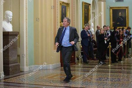 United States Senator Sherrod Brown (Democrat of Ohio) makes his way to the Senate Floor at the United States Capitol, as the Senate formally starts the impeachment trial against President Trump.