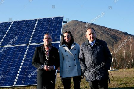 French junior minister for European Affairs Amelie de Montchalin, center, poses with her German counterpart Michael Roth, left, and her Polish counterpart Konrad Szymanski as they visit a former coal mine after a meeting of the Weimar Triangle at European Affairs level, in Loos-en-Gohelle, northern France