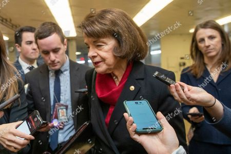 Sen. Dianne Feinstein, D-Calif., speaks to reporters in the U.S. Capitol on the first full day of the impeachment trial of President Donald Trump on charges of abuse of power and obstruction of Congress in Washington