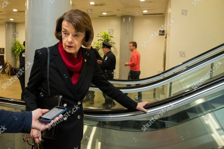 Stock Picture of Sen. Dianne Feinstein, D-Calif., speaks to reporters in the U.S. Capitol on the first full day of the impeachment trial of President Donald Trump on charges of abuse of power and obstruction of Congress in Washington
