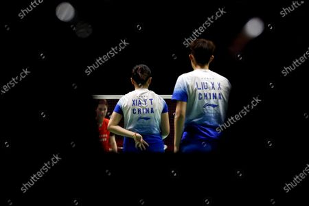 China's Xia Yu Ting (C) signals at Liu Xuan Xuan during their women's doubles match against China's Li Wen Mei and Zheng Yu on day 1 of the Badminton Princess Sirivannavari Thailand Masters 2020 in Bangkok, Thailand, 21 January 2020. The Princess Sirivannavari Thailand Masters 2020 runs from 21 to 26 January 2020.