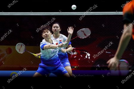 Stock Picture of China's Liu Xuan Xuan (front) and Xia Yu Ting in action against China's Li Wen Mei and Zheng Yu during their women's doubles match on day 1 of the Badminton Princess Sirivannavari Thailand Masters 2020 in Bangkok, Thailand, 21 January 2020. The Princess Sirivannavari Thailand Masters 2020 runs from 21 to 26 January 2020.