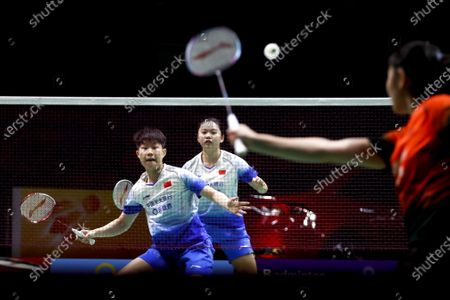Stock Image of China's Liu Xuan Xuan (L) and Xia Yu Ting in action against China's Li Wen Mei and Zheng Yu during their women's doubles match on day 1 of the Badminton Princess Sirivannavari Thailand Masters 2020 in Bangkok, Thailand, 21 January 2020. The Princess Sirivannavari Thailand Masters 2020 runs from 21 to 26 January 2020.