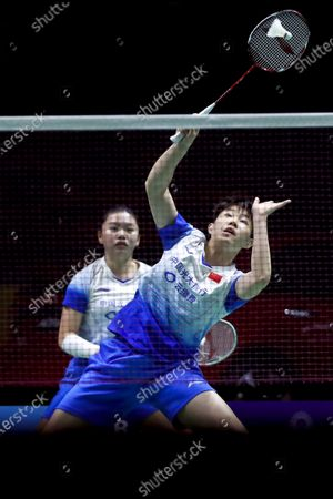 China's Liu Xuan Xuan (R) and Xia Yu Ting in action against China's Li Wen Mei and Zheng Yu during their women's doubles match on day 1 of the Badminton Princess Sirivannavari Thailand Masters 2020 in Bangkok, Thailand, 21 January 2020. The Princess Sirivannavari Thailand Masters 2020 runs from 21 to 26 January 2020.