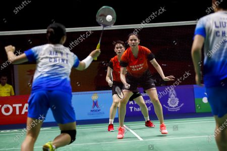 Stock Picture of China's Zheng Yu (C R) and Li Wen Mei in action against China's Liu Xuan Xuan and Xia Yu Ting (L) during their women's doubles match on day 1 of the Badminton Princess Sirivannavari Thailand Masters 2020 in Bangkok, Thailand, 21 January 2020. The Princess Sirivannavari Thailand Masters 2020 runs from 21 to 26 January 2020.