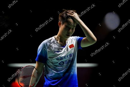 Stock Photo of China's Liu Xuan Xuan reacts next to teammate Xia Yu Ting (not seen) during a women's doubles match against China's Li Wen Mei and Zheng Yu on day 1 of the Badminton Princess Sirivannavari Thailand Masters 2020 in Bangkok, Thailand, 21 January 2020. The Princess Sirivannavari Thailand Masters 2020 runs from 21 to 26 January 2020.