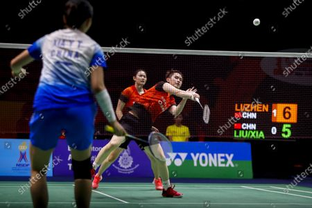 China's Li Wen Mei (R) and Zheng Yu in action against China's Liu Xuan Xuan and Xia Yu Ting during their women's doubles match on day 1 of the Badminton Princess Sirivannavari Thailand Masters 2020 in Bangkok, Thailand, 21 January 2020. The Princess Sirivannavari Thailand Masters 2020 runs from 21 to 26 January 2020.