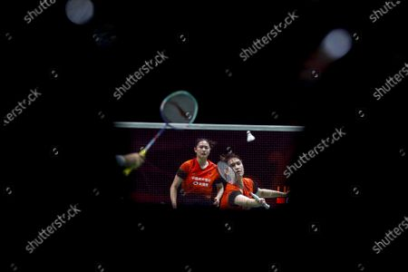China's Li Wen Mei (R) and Zheng Yu in action during their women's doubles match against China's Liu Xuan Xuan and Xia Yu Ting on day 1 of the Badminton Princess Sirivannavari Thailand Masters 2020 in Bangkok, Thailand, 21 January 2020. The Princess Sirivannavari Thailand Masters 2020 runs from 21 to 26 January 2020.