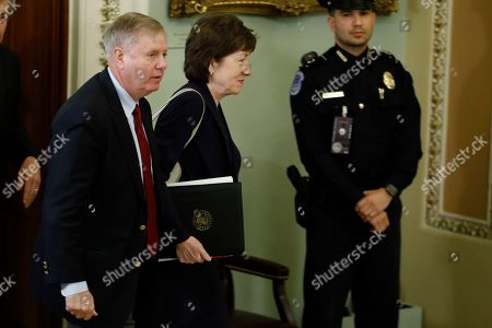 Susan Collins, Lindsey Graham. Sen. Lindsey Graham, R-S.C., left, and Sen. Susan Collins, R-Maine arrive for the trial of President Donald Trump at the Capitol, in Washington