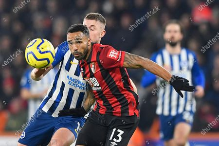 Callum Wilson of AFC Bournemouth keeps his eye on the ball under pressure from Adam Webster of Brighton and Hove Albion during AFC Bournemouth vs Brighton & Hove Albion, Premier League Football at the Vitality Stadium on 21st January 2020