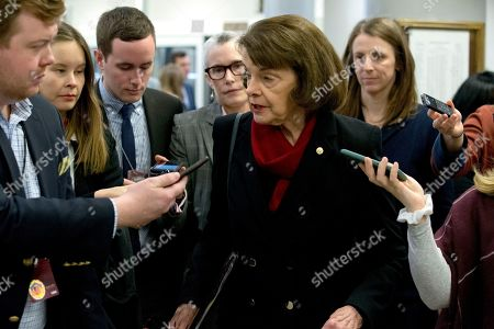Stock Photo of Sen. Dianne Feinstein, D-Calif., talks to reporters on Capitol Hill in Washington, . President Donald Trump's impeachment trial quickly burst into a partisan fight Tuesday as proceedings began unfolding at the Capitol. Democrats objected strongly to rules proposed by the Republican leader for compressed arguments and a speedy trial